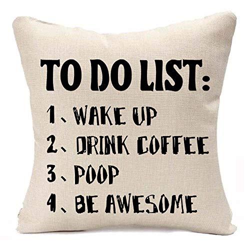 XMNTG to-Do-Liste, Aufwachen, Getränke, Kaffee, KOT, tolles Geschenk, quadratisch, Kissenbezug aus Baumwolle/Leinen, 45,7 cm