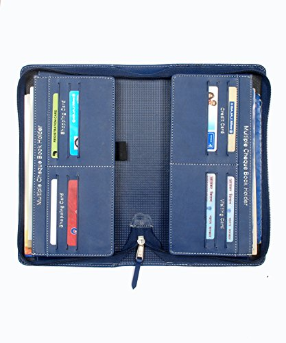 4411378e3 Sukeshcraft Multiple Cheque Book Holder PU Navy Blue
