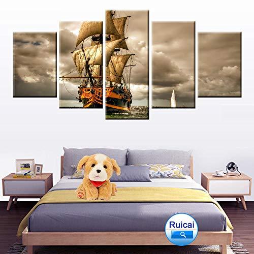 WEMUR Haiyun segeln Landschaft Poster leinwand malerei 5 Panel HD Druck Dekoration Wohnzimmer Schlafzimmer wandkunst gürtel with_Frame_30X40_30X60_30X80cm -