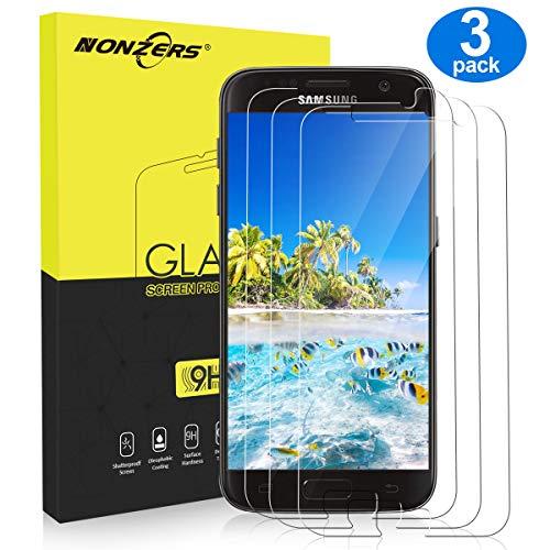 NONZERS Verre Trempé pour Samsung Galaxy S7, [Pack de 3] Film Protection Écran en Verre Trempé, Dureté 9H, Sans Bulles, Anti-Trace de Doigts, Facile à Installer, Vitre Samsung S7