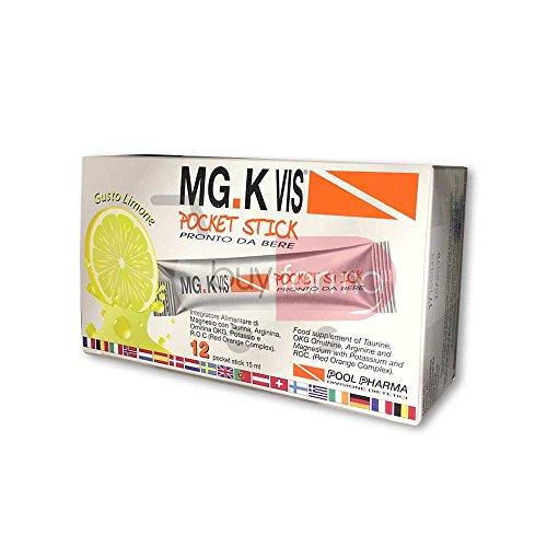 Mg.K Vis Pockey Stick - Integratore Alimentare da 12 Bustine da 15ml - Pronto da Bere Gusto Limone