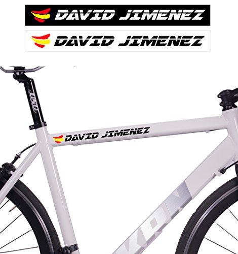 Pack de 10 Unidades de Adhesivo Para Bicicleta | Personalizado con tu Nombre y Bandera