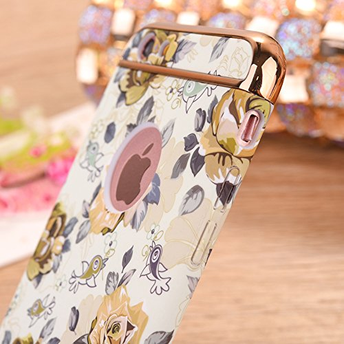"Protecteur étui avec Détachable Plating Border pour Apple iPhone 6/6s 4.7"", CLTPY Mode Beau Flower Impression Motif Nocturnes Lumineux Case en Dur Plastique, Ultra Fine Slim Bumper pour iPhone 6,iPhon Fleur Jaune Clair"