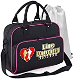 MusicaliTee Line Dancer - Line Dancing Heart - SCHWARZ + ROSA Pink - Tanztasche & Schuh Tasche Dance Shoe Bags