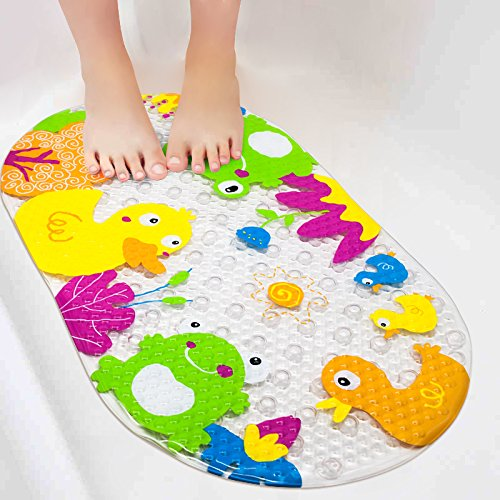 Bath Tub Mat Bathtub Mat Baby Bath Mat YoLife Cute Duck and Frog Suckers Plastic Anti-slip Mat Cartoon Beautiful Look Non-Slip PVC Bath Mat Massage Shower Bath Mat with Suction Cups Baby Children 39 x 69 cm