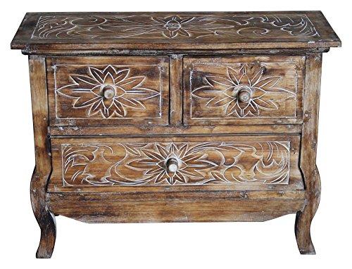 Wohnkult Sideboard Schrank Kommode aus Holz Beistelltisch 75 cm x 30 cm x 57 cm 4 Farben Telefontisch Konsole Nachttisch fertig montiert (Hellbraun) -