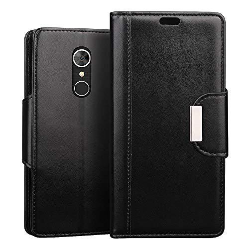 RIFFUE alcatel 5 Hülle, Handyhülle alcatel5, Retro PU Leder Flip Case Brieftasche mit Magnetverschluss, Standfunktion, Ultra Weiche Klapphülle für alcatel 5 (5,7 Zoll) - Schwarz