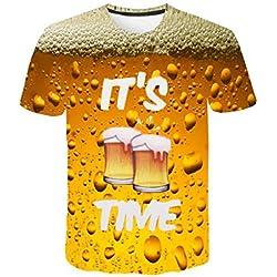 DOGZI Hombre Camisetas de Manga Corta elástica 3D Cerveza Estampado Cuello Redondo Tops