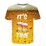 YiYLunneo Camisetas Hombre Manga Corta Tallas Grandes Moda Verano de 3D Impresión de Cerveza Casual Camisetas Hombre Blusa Tops Camisas Blusa Superior