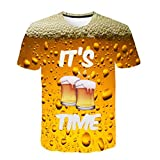 HCFKJ T-Shirt Blusen Herren, Shirt Männer Junge Plus Size Print Tees Kurzarm Baumwolle T-Shirt Bluse Tops (XL, YE)