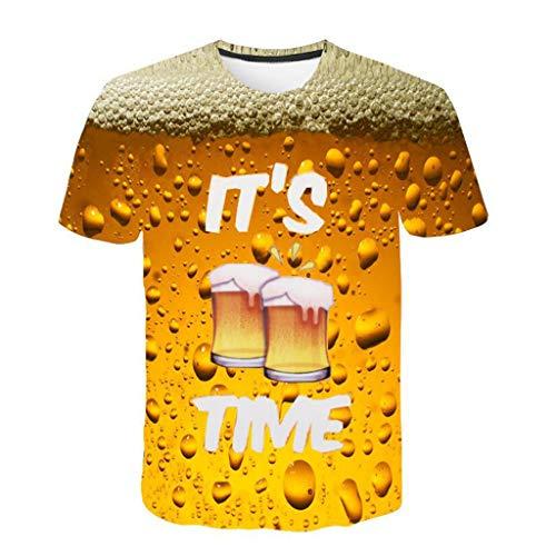 Kaltes Bier T-shirt (Battnot Herren T Shirt, 3D Bier Gedruckt Basic Gelb Große Größen Mens Kurze Ärmel Kurzarm Rundhalsausschnitt Pullover Tops Männer Beer Print Modern Oversize Slim Fit Sport Bluse m 3XL)