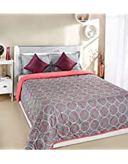 Amazon Brand - Solimo Ellora Microfibre Printed Quilt Blanket, Double, 120 GSM, Pink and Grey