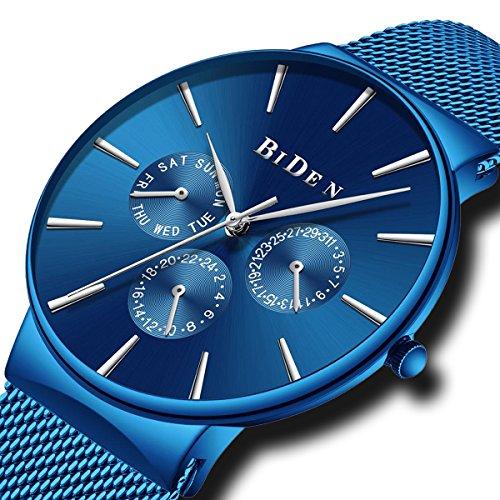 Herrenuhren Männer Blau Wasserdicht Mesh Uhr Tag Datum Kalender Luxus Einfacher Designer Edelstahl Uhren Herren Business Klassiker Analoge Quarzuhr mit Subwahlen