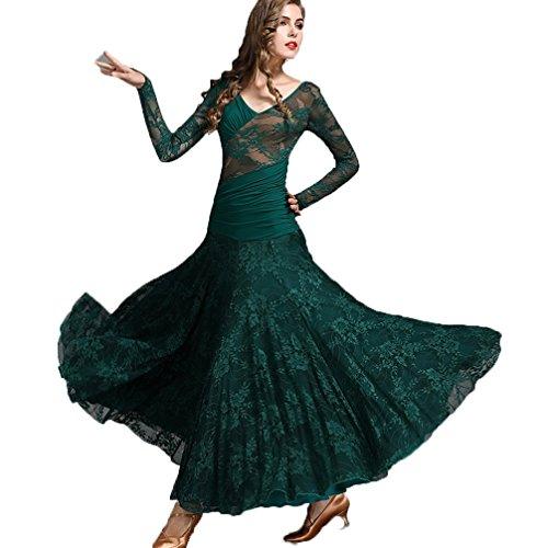 Walzer Tanzkleidung für Damen Tango-Übungskleid V-Ausschnitt Spitze/Lange Ärmel Moderner Tanz/Standard Ballsaal Tanzkleider, XL