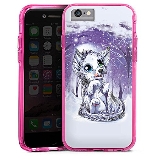 Apple iPhone 6s Bumper Hülle Bumper Case Glitzer Hülle Wolf Zeichnung Forest Bumper Case transparent pink