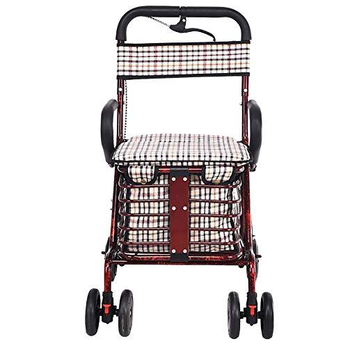 Personnes âgées marcheuses, marchettes Pliantes - Chariots à provisions pliants avec siège et Panier rembourrés pour Adultes, Personnes âgées et Personnes âgées