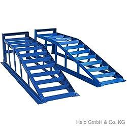 Helo 2 Stück KFZ Auffahrrampe blau 2000 kg Belastung pro Paar (max. 225 mm Reifenbreite), PKW Rampe Auffahrbock mit 22 Grad Auffahrwinkel und 210 mm Auffahrhöhe