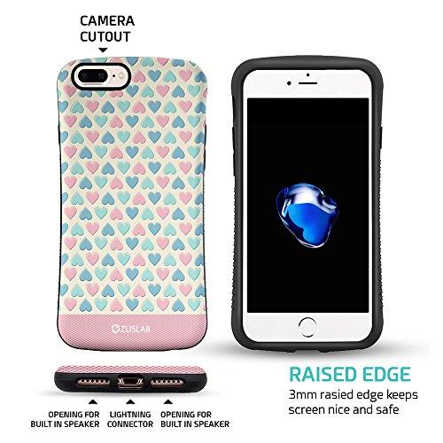 ZUSLAB iPhone 8 / iPhone 7 Hülle, Punkt Mädchen Muster Schwerschutz Fallschutz Extrem Hoher Schutzhülle Weich Rand Robust Stoßfest handyhülle für Apple iPhone 8 / iPhone 7 [Face][Pinkdot] Herz