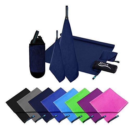 2er Set Reisehandtuch dark blue Mikrofaser Handtuch 70x140 cm + 30x50cm Sport-Handtuch...