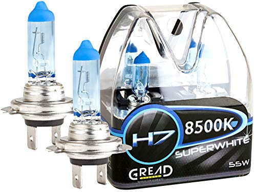 Gread - 2x H7 Halogen Lampen - super-white - 8500k 55W E-Prüfzeichen - Xenon Optik