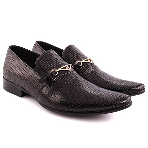Unze Männer 'Frankies' Leder Perforiert Formal Slip-on Prom Hochzeit Party Office Oxfords UK Größe 7-11 - 388-507H Schwarz