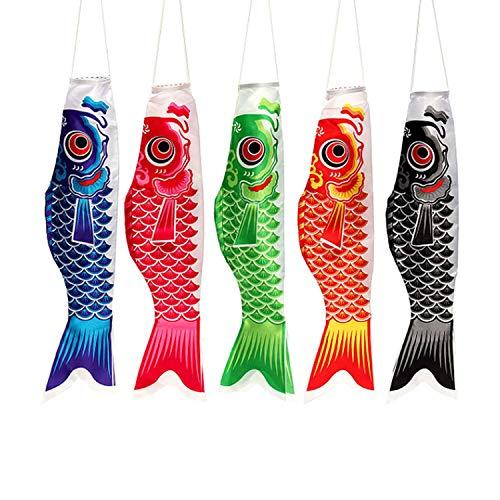 5 Stück traditionelle Karpfenflagge Karpfenbanner Windsocke Segelfisch Windschlangen mehrfarbig Fische Segelfisch Home Party Dekoration, Leinen, 5 pcs 40cm, 5pcs 40cm
