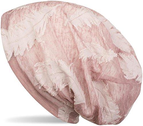 styleBREAKER Beanie Mütze mit Gewebtem Feder Muster, Slouch Longbeanie, Unisex 04024130, Farbe:Altrose