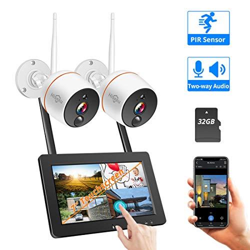 LLC - Hiseeu 1080P Wireless-Sicherheitskamera-System mit 2pcs 1080P Outdoor-Kameras, Unterstützung 2-Wege-Audio, Outdoor-Sicherheitskamera-System Wireless mit 32G SD-Karte enthält True H. 264 Dvr