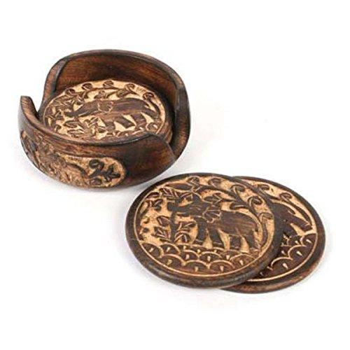 purpledip Distress acabado de madera juego de posavasos de 'Trumpeting elefantes', regalo...