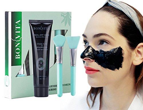 Black Maske, Anti Mitesser Peel Off Maske, BONVITA Bambuskohle Blackhead Maske mit 2 Bürste Set für Frau & Mann zur Tiefenreinigung und Mitesserentferner, Anti Akne Öl-Kontrolle (MM002)