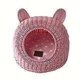 Pet Waterloo Geschlossenes Rattan-Katzen-Haus mit dem Kissen, das einfach ist, junges Hundewelpen-Nest zu säubern handgemachtes Katzen-Nest-Haustier-Versorgungsmaterialien (Farbe : Pink, größe : L)