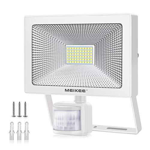 MEIKEE Projecteur 54W exterieur détecteur de mouvement 6500K, 5500LM Spot à LED Mural puissant éclairage Extérieur LED économique et durable, Etanche IP66 idéal pour terrasses, garages,...