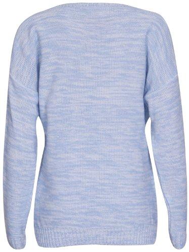 à manches longues pour femmes Renard Lunettes Impressions Femme Rond encolure ronde extensible pull tricoté HAUT PULL Bleu Clair