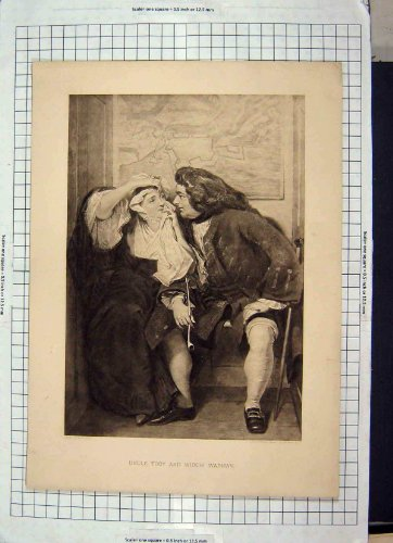 old-original-antik-viktorianischen-print-uncle-toby-widow-wadman-man-frau-142-g229