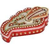 Urvi Creations 1 Pcs Meenakari Marble Handicraft Pooja Chopra/Haldi KumKum Box/Kumkum Holder