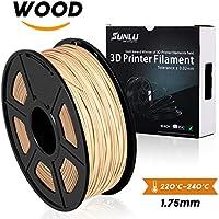 SUNLU Wood Filament - 1.75 mm 3D Printer Filament,1kg Spool (2.2 lbs), Dimensional Accuracy +/- 0.02 mm Sweet Smell 3D Printing Filament, Wood 3D Printer Filaments for Most 3D Printer & 3D Pen