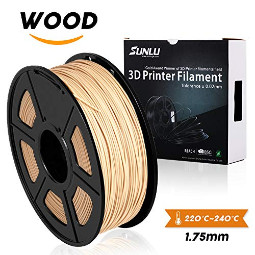 Filamento de madera SUNLU - Filamento de impresora 3D de 1.75 mm, carrete de 1 kg (2.2 lbs), precisión dimensional +/- 0.02 mm Filamento de impresión 3D de olor dulce, filamentos de impresora 3D de madera para la mayoría de las impresoras 3D y pluma 3D