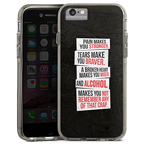Apple iPhone 8 Bumper Hülle Bumper Case Glitzer Hülle Phrases Sayings Sprüche Bumper Case transparent grau