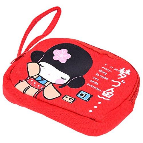 SODIAL Portefeuille Sac d'impression a main en toile a fermeture a glissiere double mignon zippe japonais - rouge