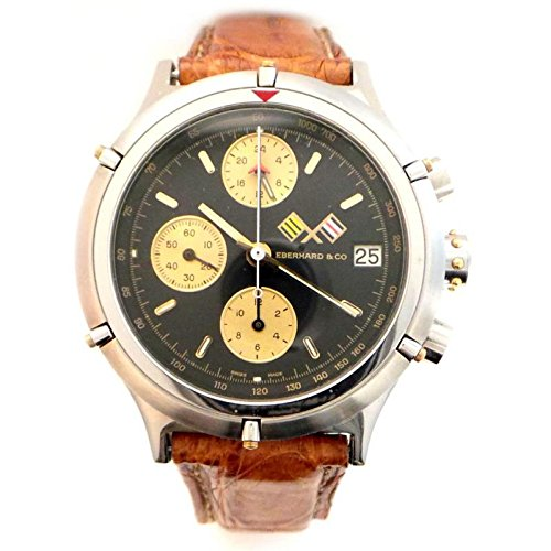 Eberhard Large Clock Croisier Automatic Chrono 32022 CP quandrante Yellow Gold Plated Steel Black Leather Strap