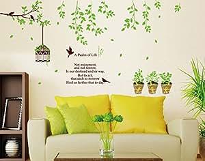 ufengke r ver jardin vert des branches d 39 arbres oiseaux cage oiseaux et de plantes en pot. Black Bedroom Furniture Sets. Home Design Ideas