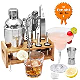 Godmorn 13 pièces Cocktail Set Bar Kit Bar Tool Set, Shaker à Martini en Acier Inoxydable de 500ml avec Support en Bois, Double Jigger, Cuillère à mélanger, 2 Verseurs, Livret de 20 Recettes