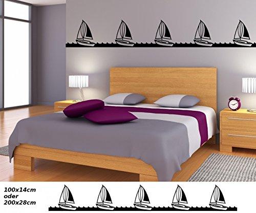 Wandtattoo selbstklebend Bordüre Schiff Boot Yacht Pirat Wasser Landschaft Set Wand Aufkleber Kinderzimmer 1U133, Farbe:Königsblau Matt;Länge...