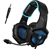 SADES SA807 PS4 3.5mm Wired Bass Stereo Noise Isolation Gaming Headset Headphones, Over Ear with Mic Volume Control for New Xbox One PC Mac Smartphone Laptop iPad iPod(Black/Blue)