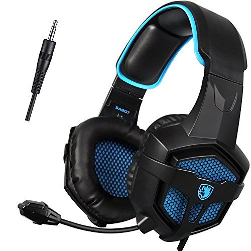 Cascos para Xbox One PS4, Sades SA807 Auriculares Gaming Bajo Envolvente Estéreo con Micrófono 3.5mm Puerto Compatible PC/ MAC/ iPad/ iPod/ iPhone/ Laptop/Smartphone(Negro/Azul)