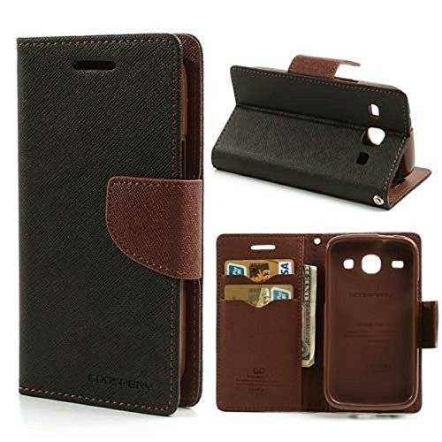 YORA YORA Fancy Wallet Imported Original Premium Quality Fancy Folding Flip Folio with Stand View Faux Leather Mobile Flip Cover and 2 cards slot Stand Case Cover For Xiaomi Redmi Note 4G / Redmi Note Prime (Black&Brown)  available at amazon for Rs.189