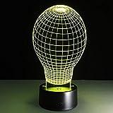 CYJQT Lampade 3D Illusione Ottica Luce Notturna Forma Di Palloncino Deco Lampada Led Da Tavolo Illuminazione Luce Di Notte 7 Colori Controllo Tattile Lampada Decorazione Da Comodino Con Cavo Usb