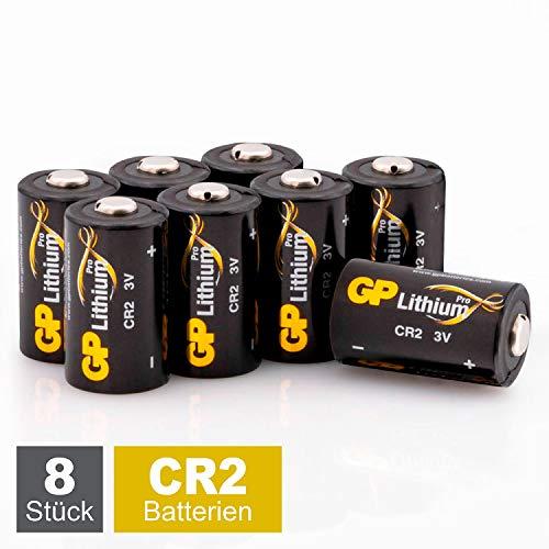 GP Batterien CR2 Lithium Pro 3V Schwarz-Gold (8 Stück) 3 Volt (3V) für Digitalkameras, Camcorder, Rauchmelder, Taschenlampen, Laserpointer, etc.