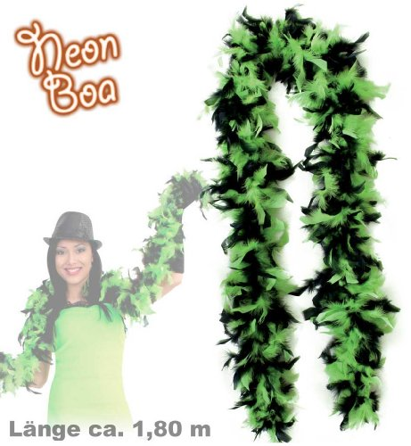 FASCHING 36316 Federboa schwarz/grün Boa 1.8 m (Truthahn) NEU/OVP