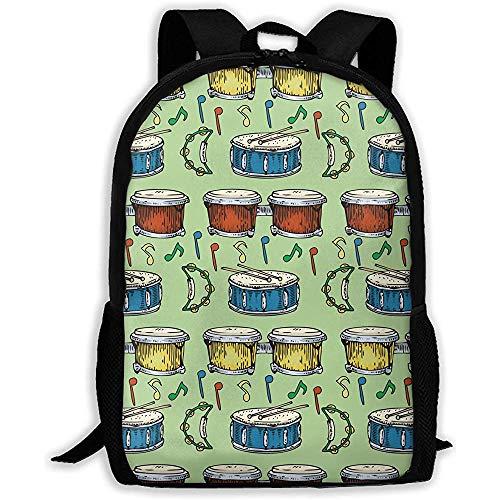 Unisex,Schultertasche,Reisetasche,Schultasche,Bunter Rucksack für Trommeln,Bongos,Tamburine,Grün,Outdoor,Mehrzweck,Benutzerdefiniert,Pack College,Laptoptasche,Rucksackgeschenk für Kinder/Erwachsene